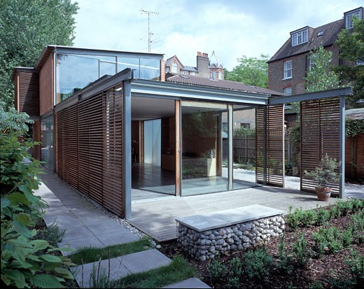 Stock Photo: 1801-44082 Architect Practice and Home, London, United Kingdom, Scamton and Barnett, Architect practice and home night exterior.