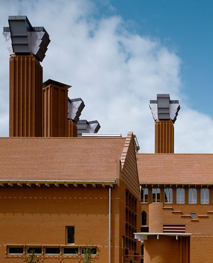 Stock Photo: 1801-44141 School of Engineering, Leicester, United Kingdom, Short Ford Partnership, School of engineering details of roof with ventilation.