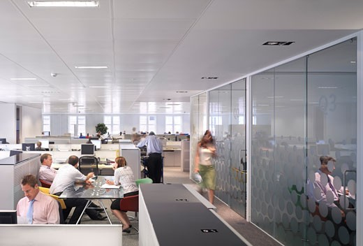 Hammerson, London, United Kingdom, Stiff and Trevillion Architects, Hammerson busy office people meeting room meeting workplace glass doors wide view. : Stock Photo