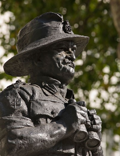Stock Photo: 1801-44898 The Statues of London, London, United Kingdom, Unknown, The statues of london book field marshal william slim by ivor roberts-jones (1913-1996) material bronze unveiled 1990 location the ministry of defence whitehall SW1.