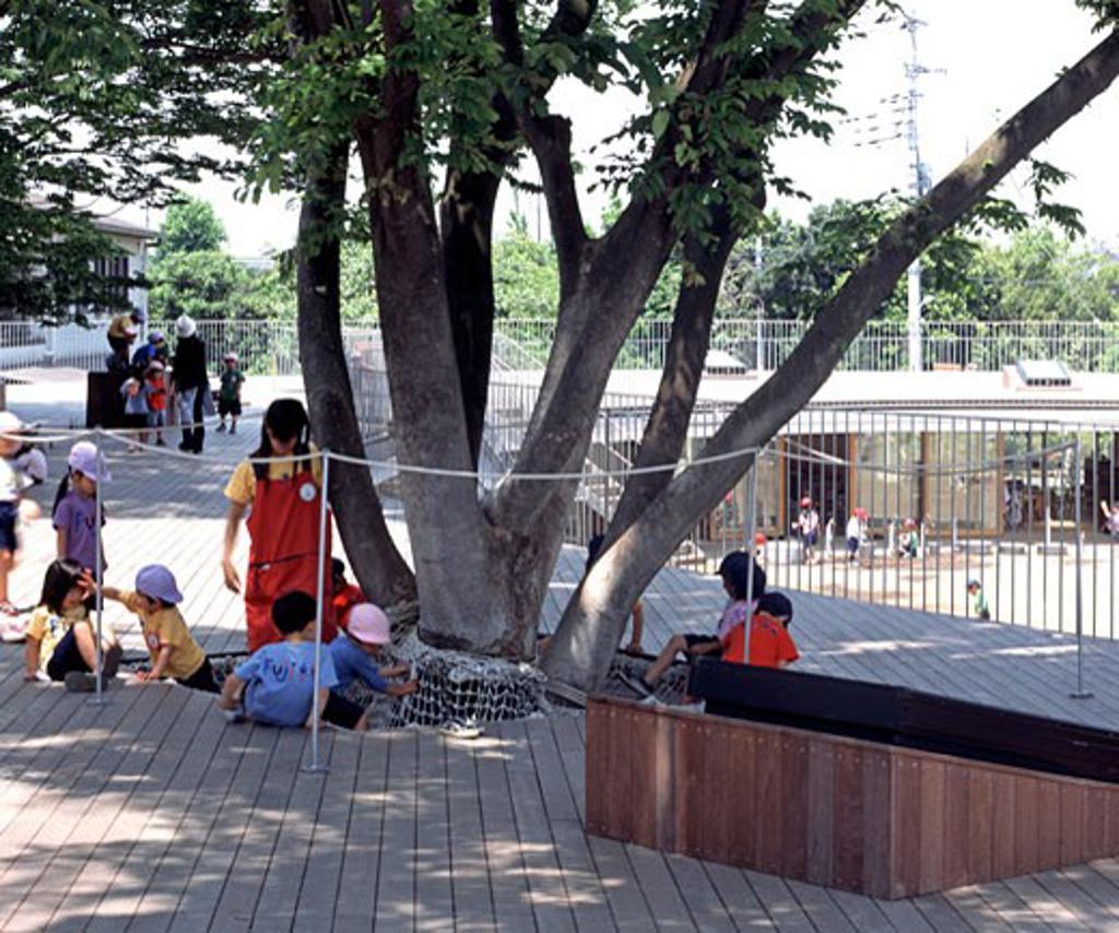 Fuji Kindergarten, Tokyo, Japan, Tezuka Architects, Fuji kindergarten exterior view-rooftop. : Stock Photo