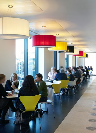 Stock Photo: 1801-45581 Guardian Offices, London, United Kingdom, Tp Bennett, Guardian offices kings place view of colourful seating and ceiling lighting in cafe.