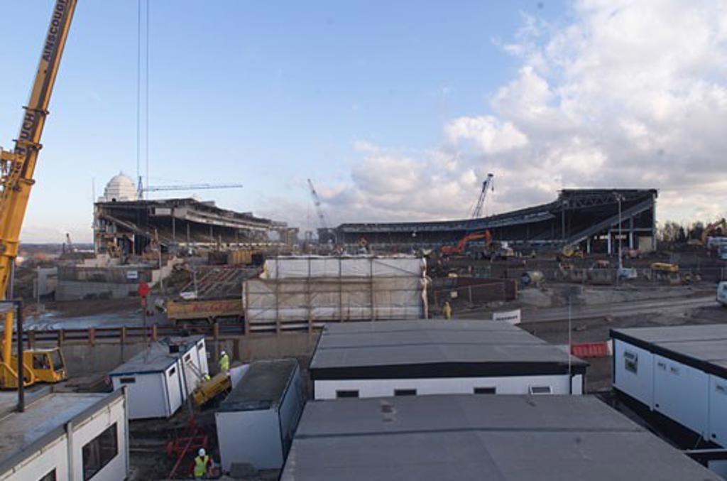 Wembley Stadium Demolition, Wembley, United Kingdom, Architect Unknown, Wembley stadium demolition view of stadium. : Stock Photo