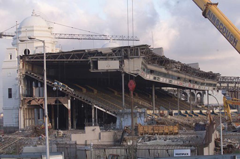Wembley Stadium Demolition, Wembley, United Kingdom, Architect Unknown, Wembley stadium demolition demolition of seating. : Stock Photo