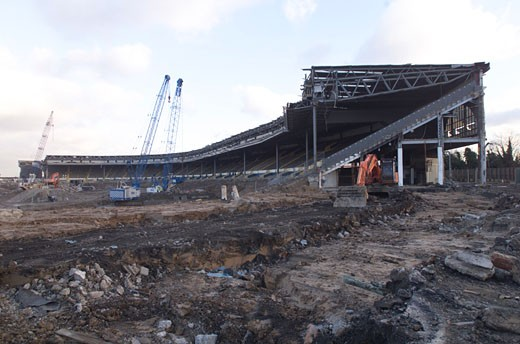 Stock Photo: 1801-45951 Wembley Stadium Demolition, Wembley, United Kingdom, Architect Unknown, Wembley stadium demolition demoliition across the pitch.