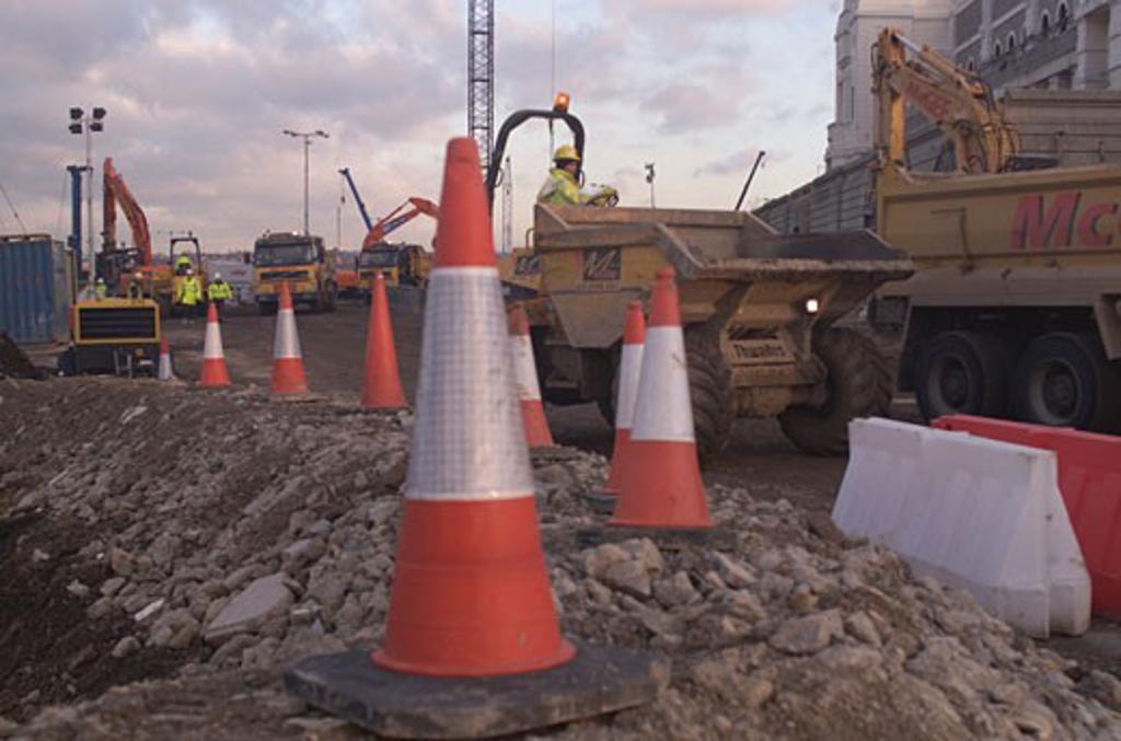 Wembley Stadium Demolition, Wembley, United Kingdom, Architect Unknown, Wembley stadium demolition demolition work. : Stock Photo