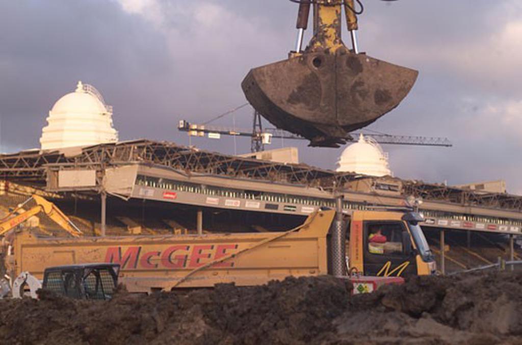 Stock Photo: 1801-46008 Wembley Stadium Demolition, Wembley, United Kingdom, Architect Unknown, Wembley stadium demolition demolition work.