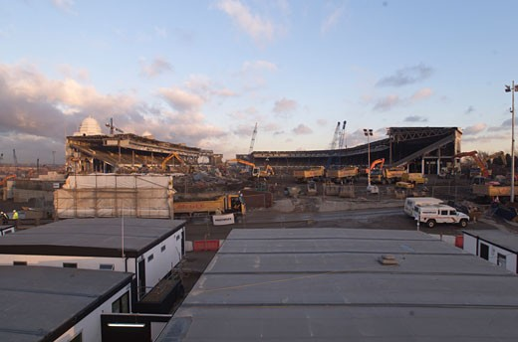 Wembley Stadium Demolition, Wembley, United Kingdom, Architect Unknown, Wembley stadium demolition on the pitch. : Stock Photo