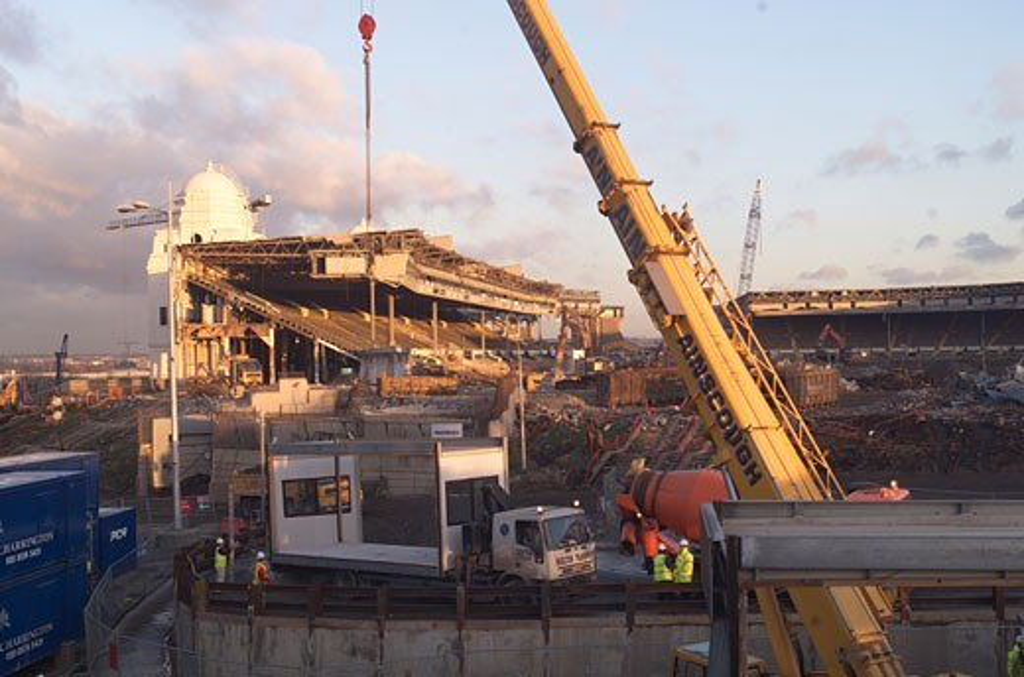 Stock Photo: 1801-46013 Wembley Stadium Demolition, Wembley, United Kingdom, Architect Unknown, Wembley stadium demolition on the pitch.