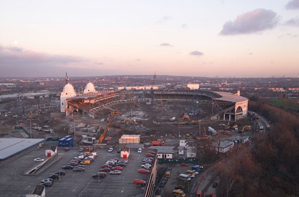 Wembley Stadium Demolition, Wembley, United Kingdom, Architect Unknown, Wembley stadium demolition aerial view. : Stock Photo