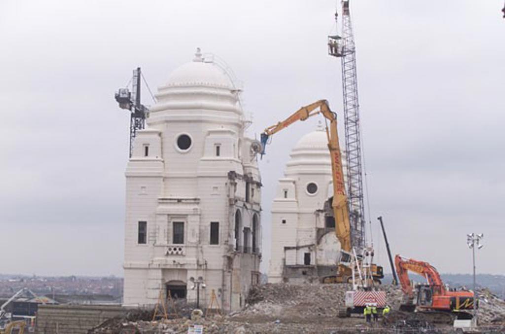 Wembley Stadium Demolition, Wembley, United Kingdom, Architect Unknown, Wembley stadium demolition with diggers. : Stock Photo