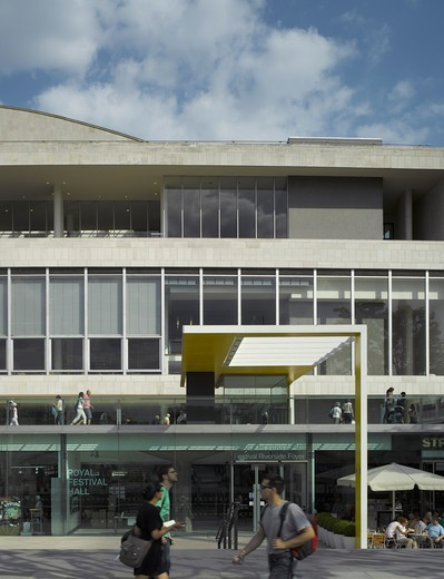 Stock Photo: 1801-47045 Royal Festival Hall, London, United Kingdom, Leslie Martin Robert Matthews Peter Moro and Allies and Morrison Architects, ROYAL FESTIVAL HALL ELEVATION WITH NEW ENTRANCE