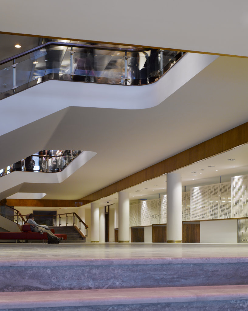 Stock Photo: 1801-47069 Royal Festival Hall, London, United Kingdom, Leslie Martin Robert Matthews Peter Moro and Allies and Morrison Architects, ROYAL FESTIVAL HALL WATERLOO STAIRS AND CLOAKROOM