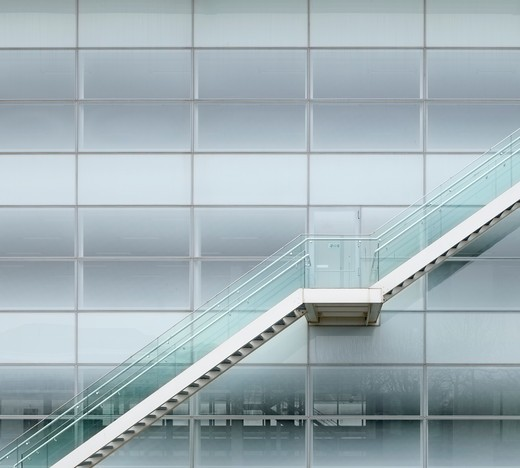 Stock Photo: 1801-47156 Stockley Park, London, United Kingdom, Architect Unknown, STOCKLEY PARK BUSINESS PARK OFFICES HEATHROW LONDON FOSTER AND PARTNERS EXTERNAL STAIR AND FROSTED GLASS