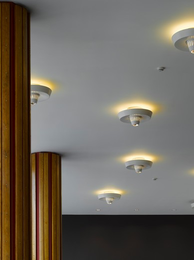 Royal Festival Hall, London, United Kingdom, Leslie Martin Robert Matthews Peter Moro and Allies and Morrison Architects, ROYAL FESTIVAL HALL MEXICAN HAT LIGHTS : Stock Photo