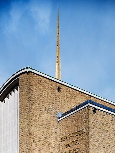 Stock Photo: 1801-47358 Chatsworth Baptist Church, London, United Kingdom, Cazenove Architects, Chatsworth Baptist Church restoration by Cazenove Architects. Cazenove work on many educational and community projects aswell as restorations and conversions. The key element here was to renovate existing features bring in new ideas and make sure there was balance between old and new.