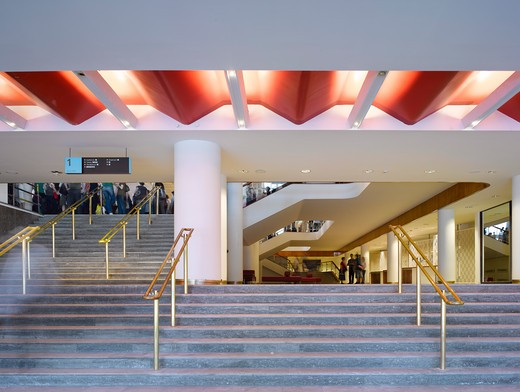 Royal Festival Hall, London, United Kingdom, Leslie Martin Robert Matthews Peter Moro and Allies and Morrison Architects, ROYAL FESTIVAL HALL WATERLOO STAIRS : Stock Photo