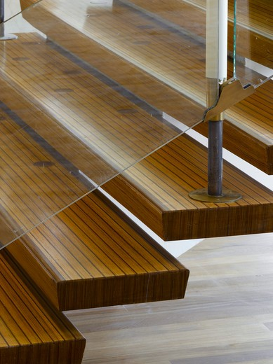 Stock Photo: 1801-47466 Royal Festival Hall, London, United Kingdom, Leslie Martin Robert Matthews Peter Moro and Allies and Morrison Architects, ROYAL FESTIVAL HALL LAMINATED WOOD STAIR DETAIL