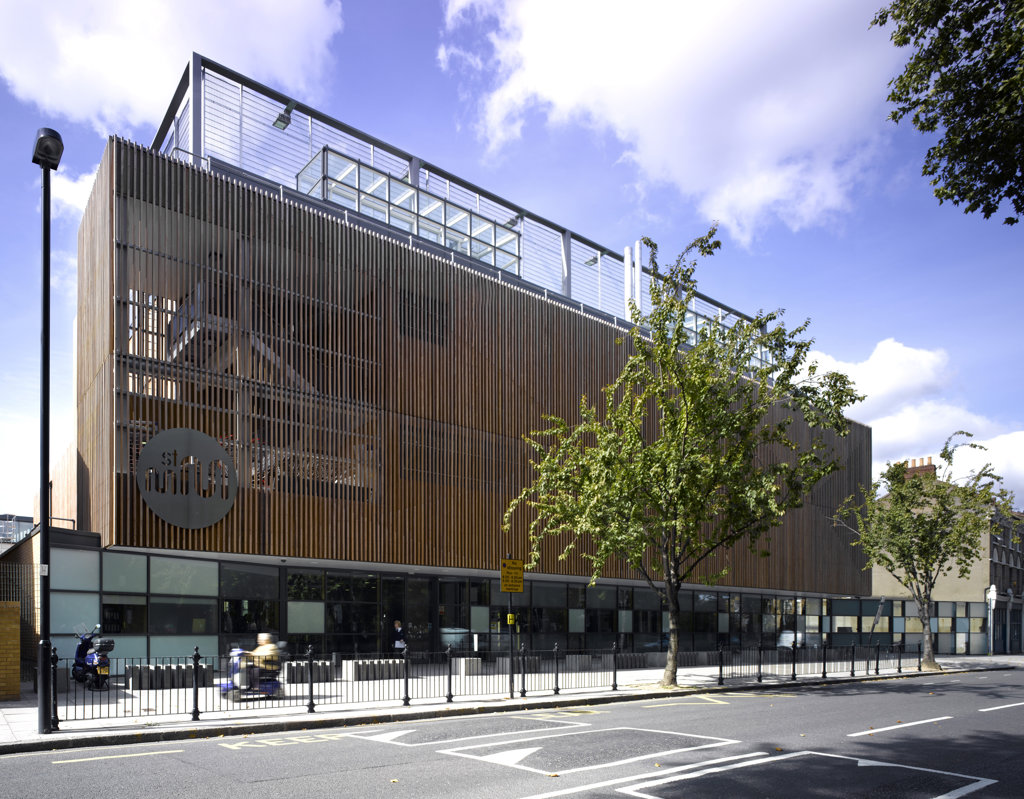 Stock Photo: 1801-48113 St Mary Magdalene Academy, London, United Kingdom, Feilden Clegg Bradley Architects, ST MARY MAGDALENE ACADEMY STREET VIEW