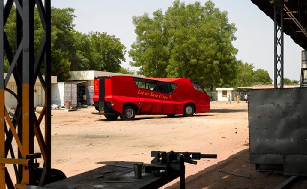 Cattiva Mobile Blood Donation Vehicle, Ahmedabad, India, Matharoo Associates, CATTIVA-IN TRUCK BUILDERS WORKSHOP : Stock Photo