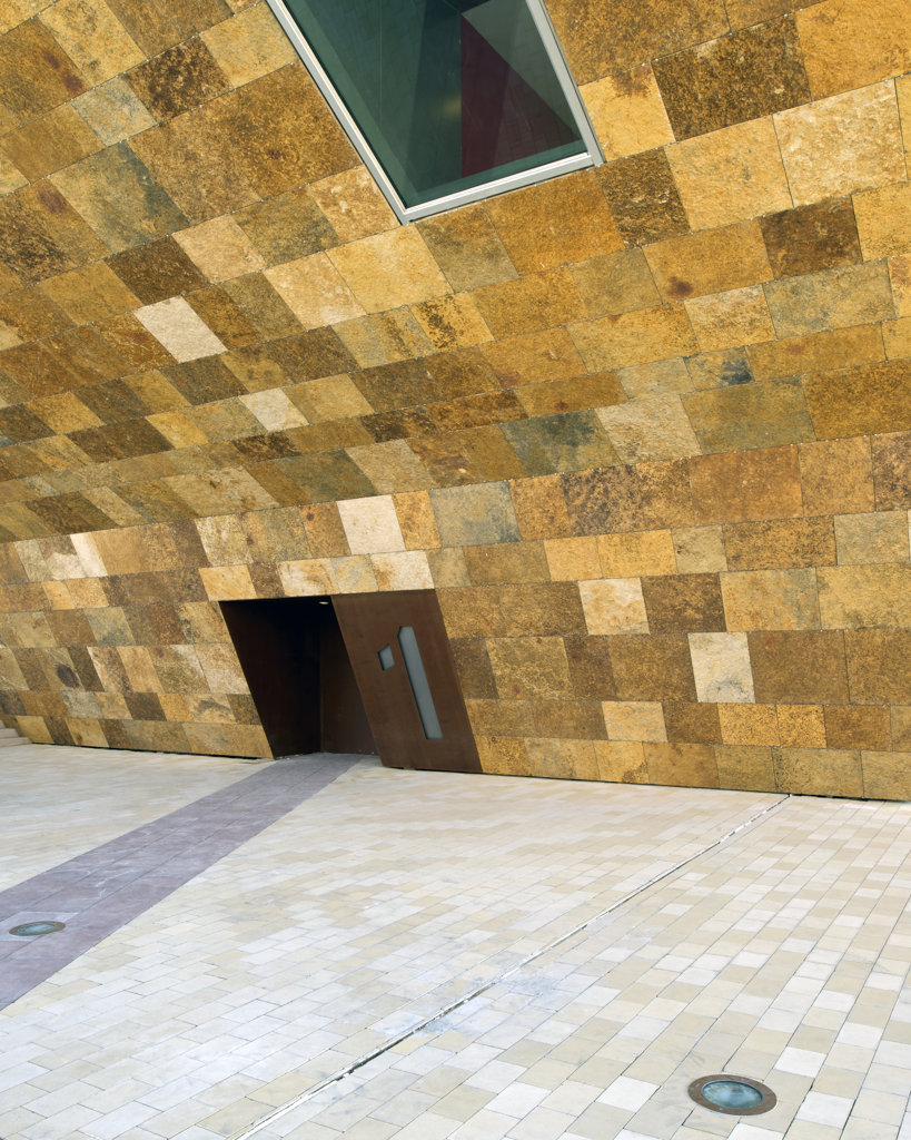 La Llotja-Lleida Congress Theater and Convention Centre, Lleida, Spain, Mecanoo Architects, LA LLOTJA CONGRESS THEATER AND CONVENTION CENTER MECANOO ARCHITECTS SPAIN 2010 EXTERIOR DOORWAY WITH WINDOW AT GROUND LEVEL : Stock Photo