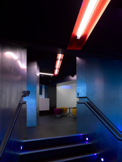 Open Youth Venue, Norwich, United Kingdom, Hudson Architects, OPEN YOUTH CLUB-CLUB IN BASEMENT : Stock Photo