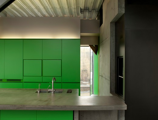 Stock Photo: 1801-49988 Silverlight, London, United Kingdom, Adjaye Associates, SILVERLIGHT ADJAYE ASSOCIATES LONDON 2010 VIEW OF KITCHEN UNIT WITH CONCRETE WORKTOP