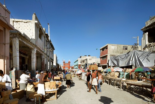 Stock Photo: 1801-52646 The Iron Market  Port-Au-Prince  Haiti   John Mcaslan And Partners  2011  Port-Au-Prince Street Scene After Earthquake