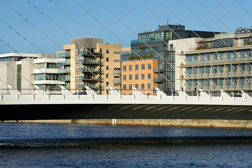 Stock Photo: 1801-52704 Samuel Beckett Bridge  Santiago Calatrava  Dublin  Ireland  2009