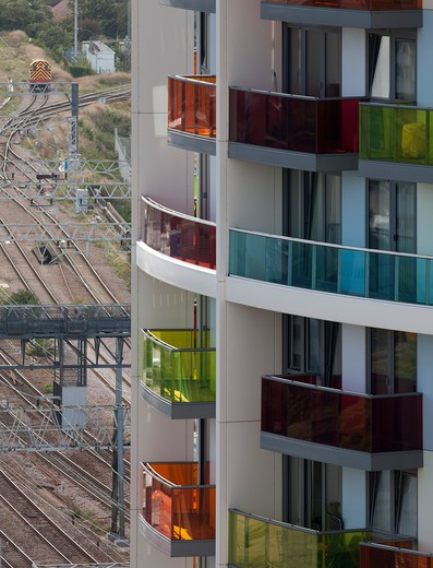 Stock Photo: 1801-53257 New Flats With Coloured Balconies And Rail Tracks London Olympic Site 2010