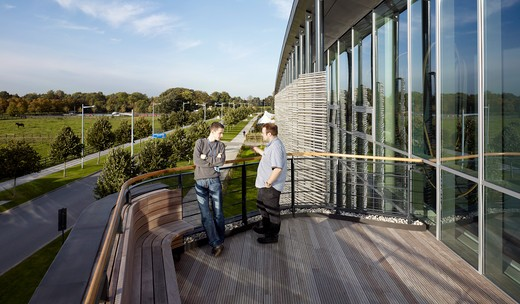 Day  Roof Terrace With People - University Of Cambridge  Physics Of Medicine Is A Building To Enable A New Research Initiative Which Will Push The Boundaries Of Medical Science By Drawing Physics Deeply Into The Life Sciences. : Stock Photo