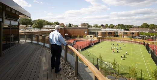Stock Photo: 1801-54412 Roof Terrace - A New Co-Educational Comprehensive Secondary School In The London Borough Of Islington