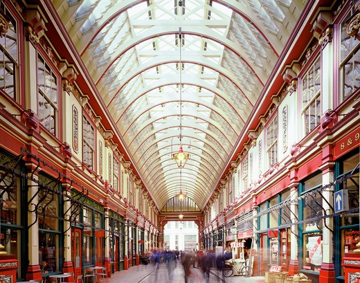 Stock Photo: 1801-54977 City Of London  Leadenhall Market  Sir Horace Jones  2010  One Of London'S Oldest Food Markets  Since The 14Th Century.