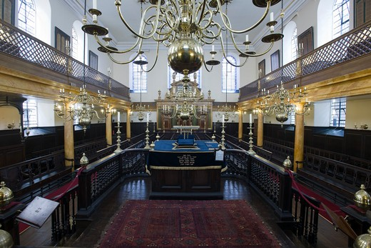 Stock Photo: 1801-54996 City Of London  Bevis Marks  Or Spanish And Portuguese Synagogue  Joseph Avis 1701  The Oldest Surviving English Synagogue  Its Interiors Are Unaltered Since Its Completion.