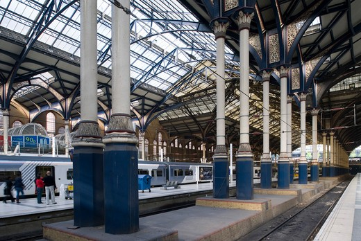 Stock Photo: 1801-55045 City Of London  Liverpool Street Railway Station  Edward Wilson 1873  British Rail Architects' Department 1985-91. According To Sir John Betjeman... The Most Picturesque And Interesting Of The London Termini .