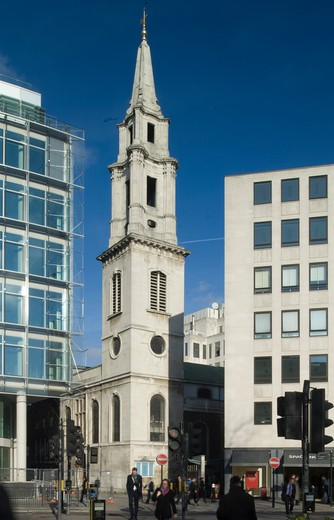City Of London  St. Vedast Alias Foster  Sir Christopher Wren  1670-3  Rebuilt After Bomb Damage By Stephen Dykes Bower In 1953-63  It Has The Most Baroque Steeple Of All The City Churches. : Stock Photo