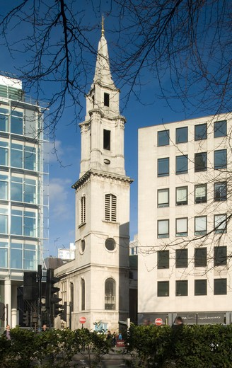 Stock Photo: 1801-55103 City Of London  St. Vedast Alias Foster  Sir Christopher Wren  1670-3  Rebuilt After Bomb Damage By Stephen Dykes Bower In 1953-63  It Has The Most Baroque Steeple Of All The City Churches.