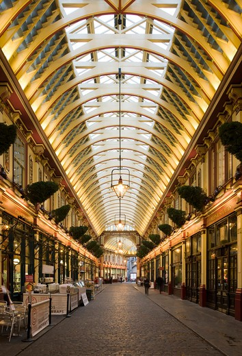 Stock Photo: 1801-55107 City Of London  Leadenhall Market  Sir Horace Jones  1881  Built On Site Of Basilica Of Roman London.