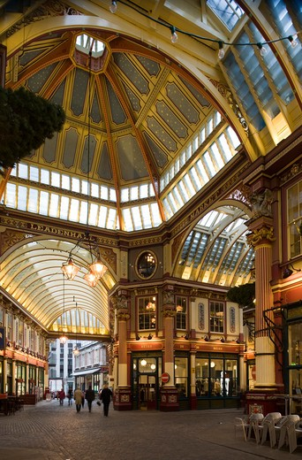 Stock Photo: 1801-55108 City Of London  Leadenhall Market  Sir Horace Jones  1881  Built On Site Of Basilica Of Roman London.
