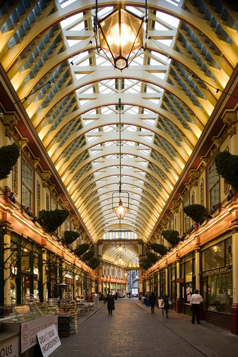 Stock Photo: 1801-55110 City Of London  Leadenhall Market  Sir Horace Jones  1881  Built On Site Of Basilica Of Roman London.
