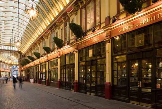 Stock Photo: 1801-55111 City Of London  Leadenhall Market  Sir Horace Jones  1881  Built On Site Of Basilica Of Roman London.