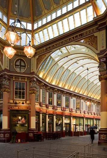 Stock Photo: 1801-55115 City Of London  Leadenhall Market  Sir Horace Jones  1881  Built On Site Of Basilica Of Roman London.