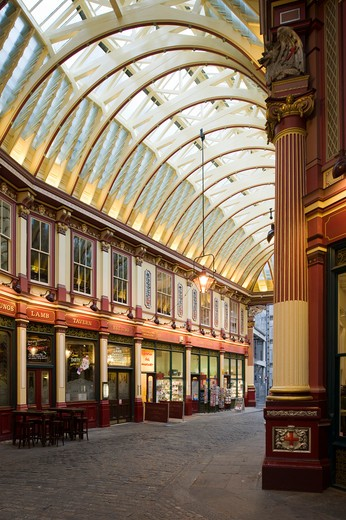 Stock Photo: 1801-55116 City Of London  Leadenhall Market  Sir Horace Jones  1881  Built On Site Of Basilica Of Roman London.