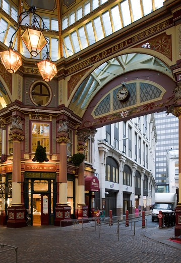 Stock Photo: 1801-55117 City Of London  Leadenhall Market  Sir Horace Jones  1881  Built On Site Of Basilica Of Roman London.