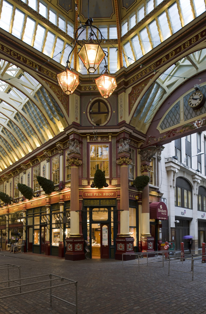 Stock Photo: 1801-55118 City Of London  Leadenhall Market  Sir Horace Jones  1881  Built On Site Of Basilica Of Roman London.