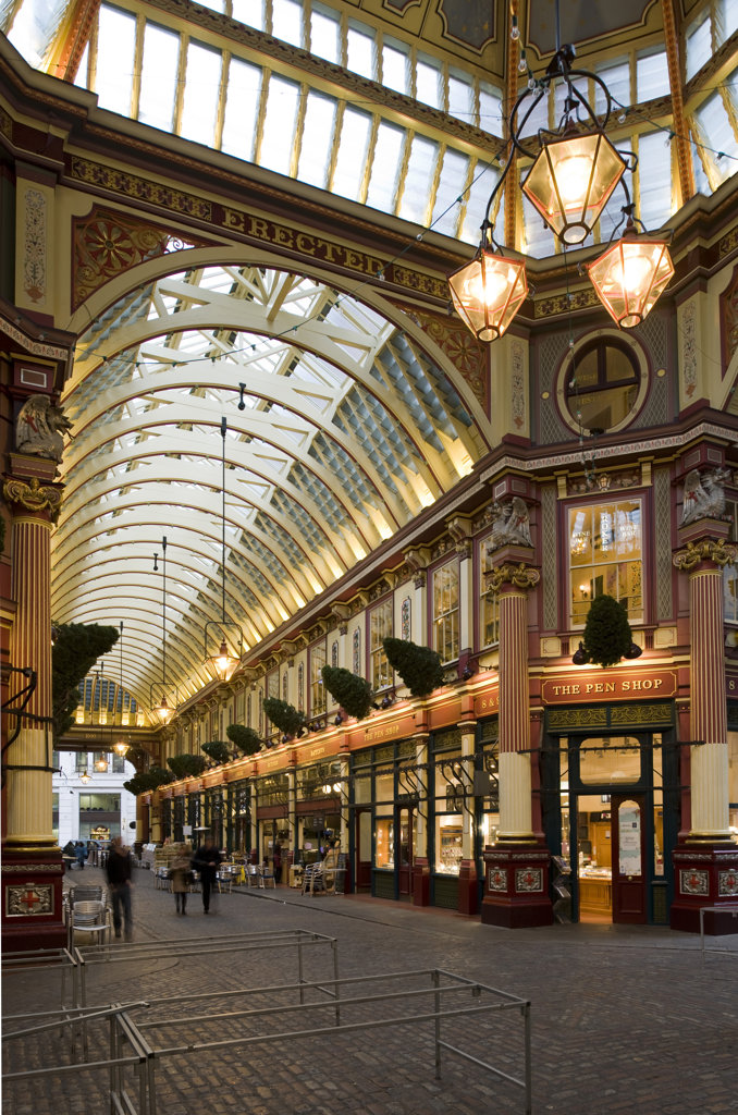Stock Photo: 1801-55119 City Of London  Leadenhall Market  Sir Horace Jones  1881  Built On Site Of Basilica Of Roman London.