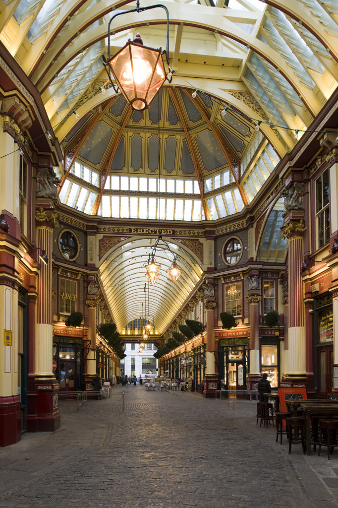 Stock Photo: 1801-55120 City Of London  Leadenhall Market  Sir Horace Jones  1881  Built On Site Of Basilica Of Roman London.