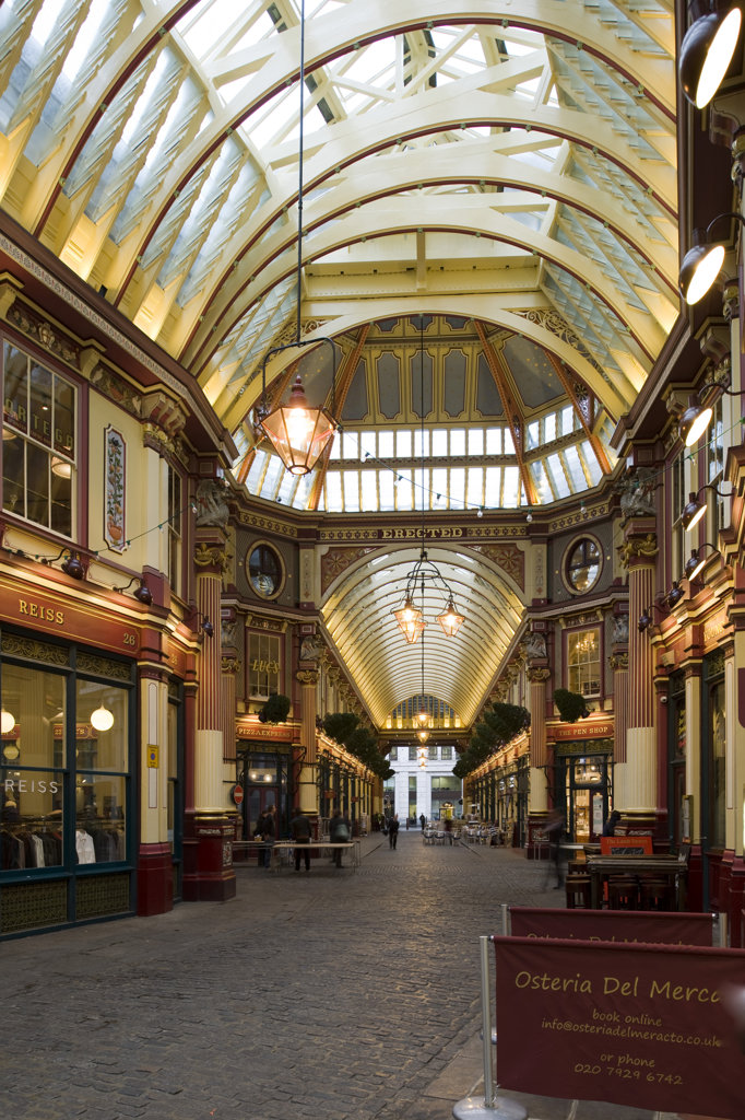 Stock Photo: 1801-55121 City Of London  Leadenhall Market  Sir Horace Jones  1881  Built On Site Of Basilica Of Roman London.