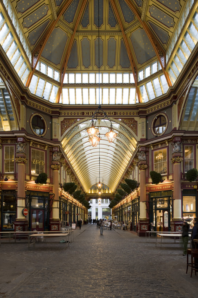 Stock Photo: 1801-55122 City Of London  Leadenhall Market  Sir Horace Jones  1881  Built On Site Of Basilica Of Roman London.