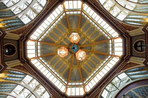 Stock Photo: 1801-55124 City Of London  Leadenhall Market  Sir Horace Jones  1881  Built On Site Of Basilica Of Roman London. View Of Dome From Below.